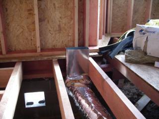 Выход для  решетки в системе воздушного отопления.